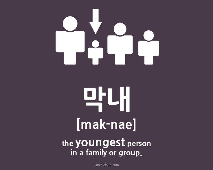 막내 (maknae) = the youngest person in a family or group.