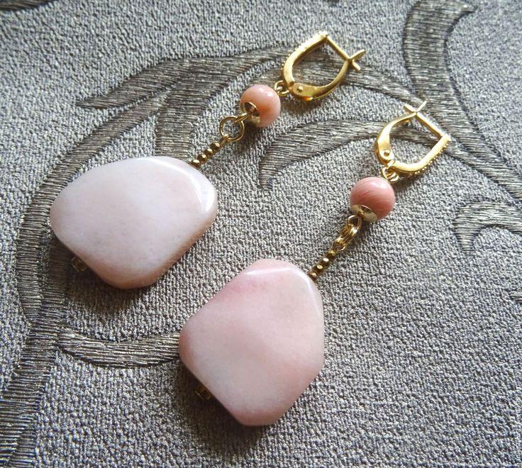 """Купить Серьги """"Cuir d'Ange"""" (розовый опал, персиковый агат, гематит) - кремовый, розовый"""