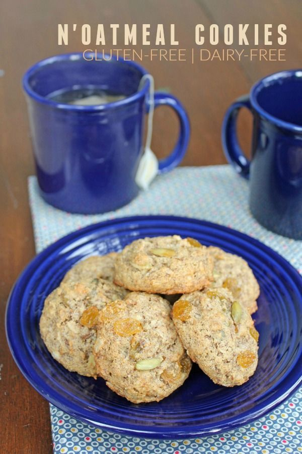 N'Oatmeal Cookies -- The perfect gluten-free, dairy-free cookie recipe. These cookies are sweetened with maple syrup and will be a hit with your Paleo friends!