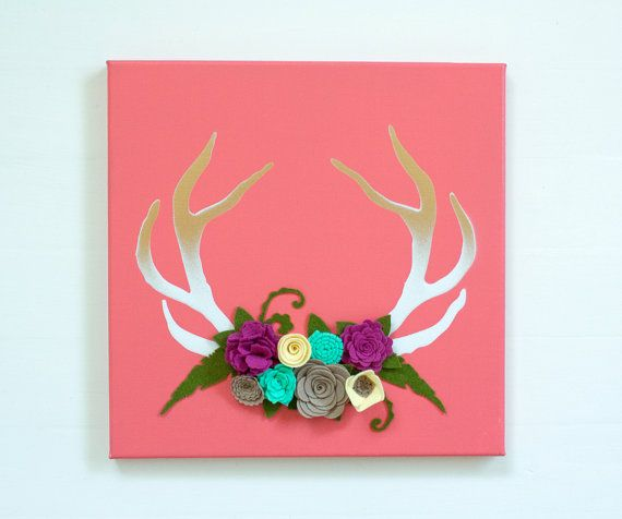Felt Flowers w/ Antlers   Antler Decor by SugarSnapBoutique