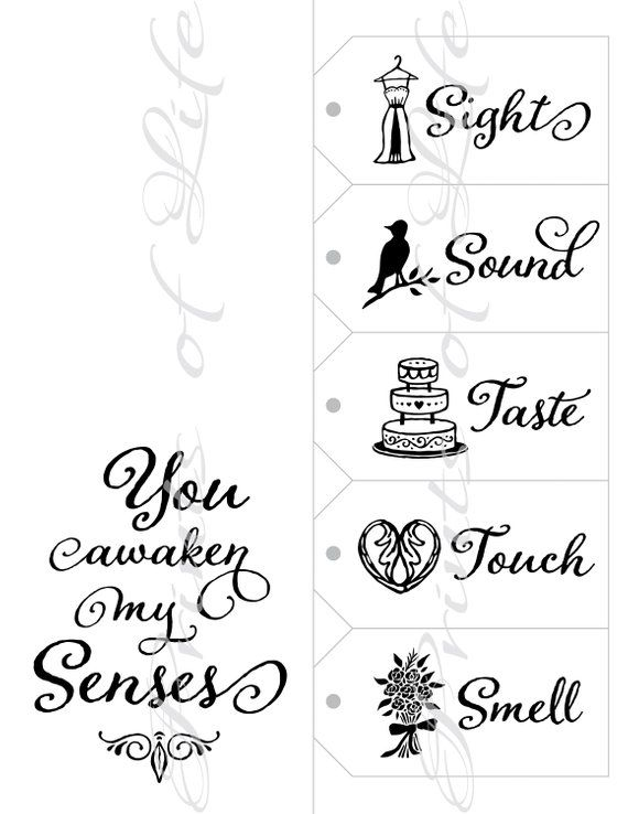 Five Senese Gift Tags & Card. 5 Senses Date Night idea. Instant download printable. Wedding gift him