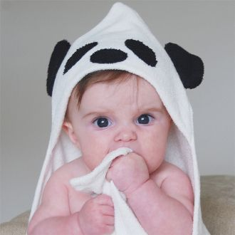 Panda Bear Bamboo Hooded Towel - hotter days & evenings + playing outside means more baths! organic, absorbent + super soft!