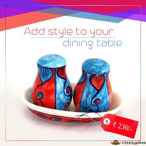 Add style to your dining table with this colorful Ceramic Salt and Pepper Set with tray #Classyplus #OnlineShopping #HomeDecor https://goo.gl/aF2Avj