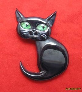 Carved From Vintage Black Bakelite Cute Halloween Cat Pin Feline Kitty Catalin