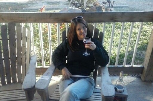 Amy sipping wine...lol