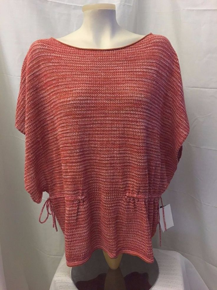 EIGHT EIGHT EIGHT Tunic Sweater Red Open Weave Knit Batwing Sleeve Size M  #EightEightEight #Tunic #Casual