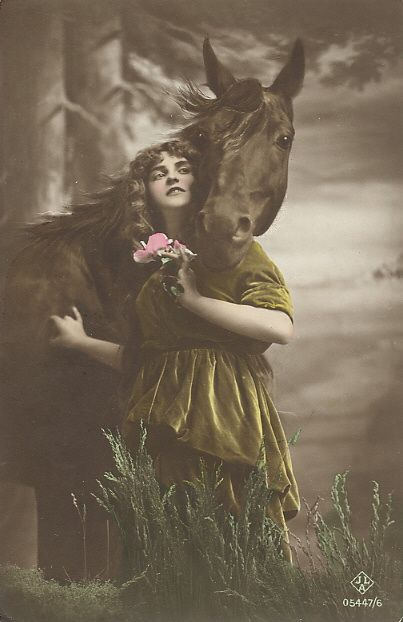 woman with horse postcard