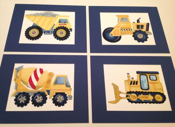 Tonka construction trucks SET OF FOUR 8X10 GICLEE PRINTS (20.3cmX25.4cm) matted in four11x14 navy blue or gray mattes   All prints are made