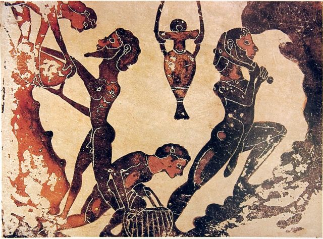 """Greek slaves in the mines. though most city-states outlawed murdering slaves, ancient mine work was often a death sentence. the great Greek Philosophers hinted at the Hypocrisy of having slaves in a """"free Society"""" Wikipedia/Public Domain"""