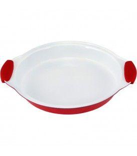 Assadeira oval c/revestimento antiaderente c/alça de silicone - Vermelho