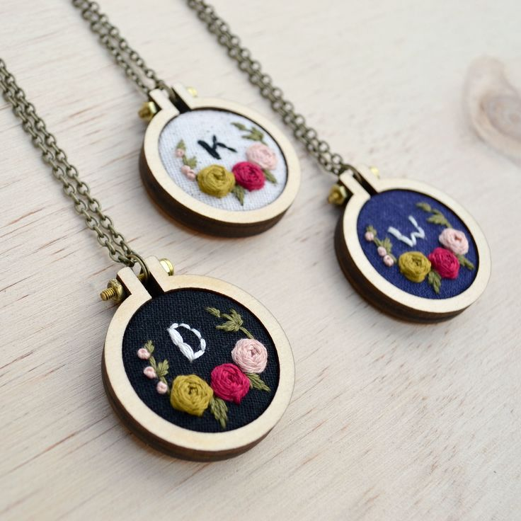 "Make a statement with this embroidered initial necklace. This sweet pendant makes the perfect gift for any lady in your life!Miniature wooden hoop measures 1.6"". Antique Brass chain measures 27.5"" in total length. Features hand stitched blooms and leaves in magenta, pink, chartreuse,"