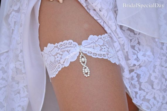 White Wedding Garter Set Stretch Lace Bridal Garter With Rhinestone Eye Shapes - Handmade Bridal Accessories