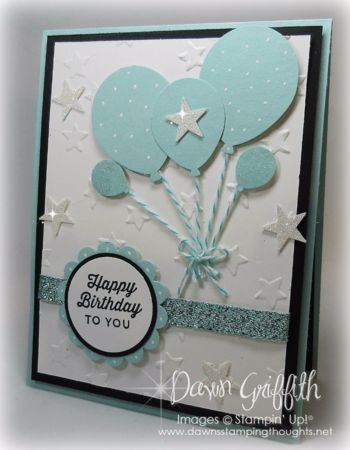 "Hi Stampers, Happy Monday friends !  This card doesn't truly show all the sparkle on it but trust me it has LOTS!  Pool Party Glitter 3/8"" ribbon # 140561 Dazzling Diamonds Glimmer Paper # 135315 Wink"