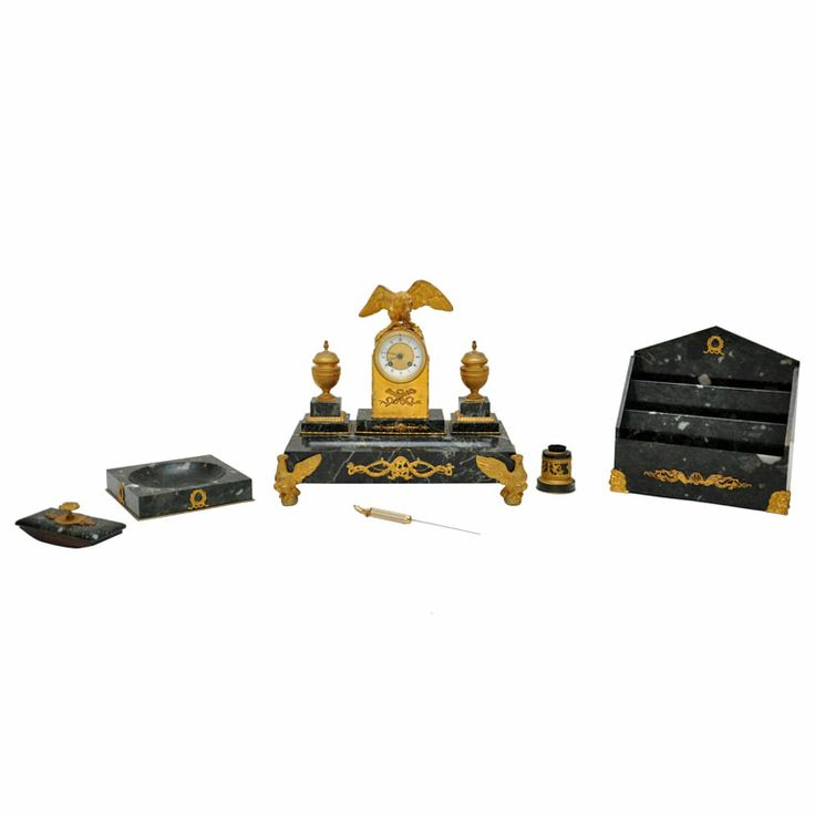 French Empire Marble and Gilded Bronze Desk Set | From a unique collection of antique and modern inkwells at http://www.1stdibs.com/furniture/more-furniture-collectibles/inkwells/
