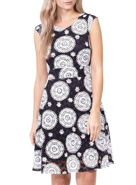 c990240c807 Izabel London Black Mosaic Print Skater Dress