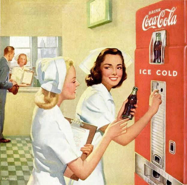 I l Love Coke. This 1948 Coca Cola ad shows nurses stocking up on this classic…
