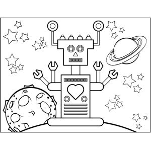 Kids who like sci-fi will love this printable outer space coloring page of a robot with four metal arms and a heart on its chest.