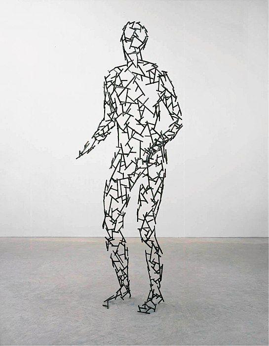 "Antony Gormley [UK] (b 1950) ~ ""MENISCUS"", 2003. Mild steel bar (184 x 61 x 50 cm). | #art #sculpture #figurative"