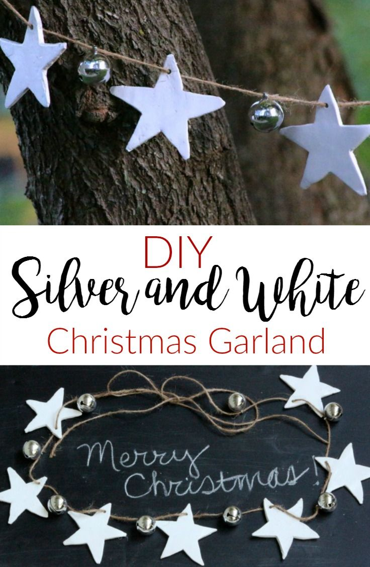 Making christmas decorations jingle bells - Silver White Christmas Garland Christmas In July