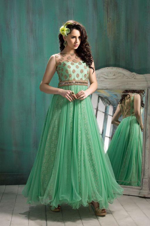 Designer Green Floor Length Anarkali Suit