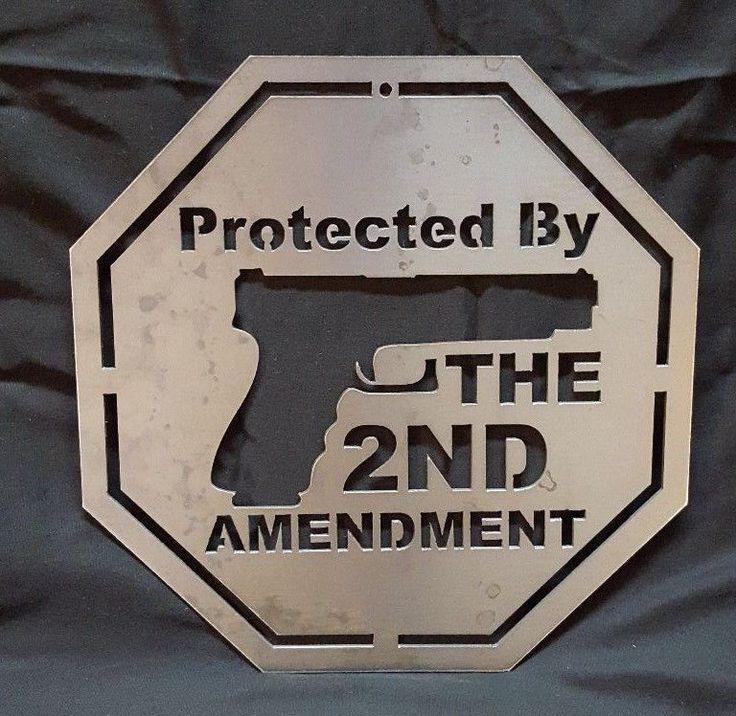 Protected by the 2nd Amendment  Metal Sign Gun Ammo Security Man Cave Warning #Handmade #Warning