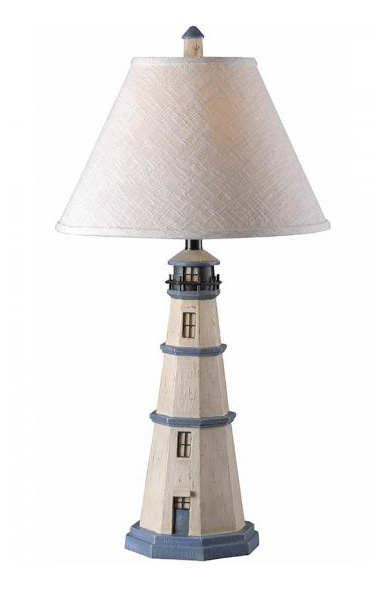 This Nantucket lamp with a lighthouse base would work perfectly in a nautical-themed room.