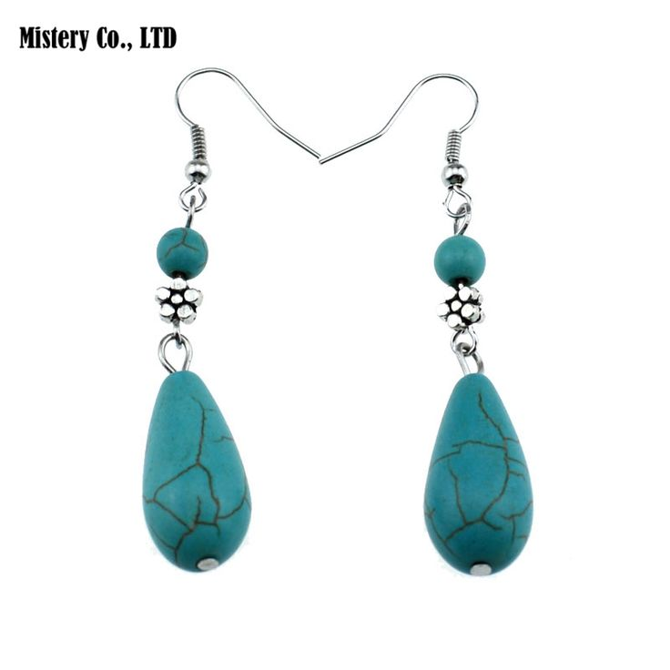 ER281 Tear Tibetan Silver Plated Turquoise vintage exotic drop dangle fashion earrings wholesale Jewelry for girls