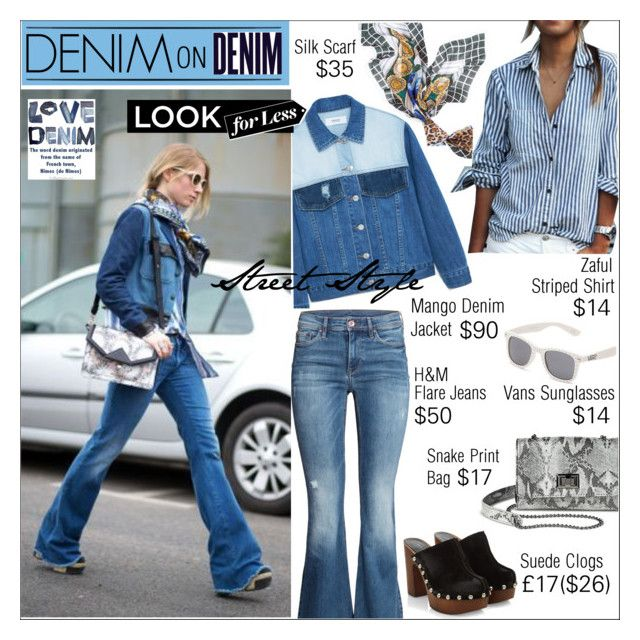 """Denim on Denim - Look for Less"" by watereverysunday ❤ liked on Polyvore featuring moda, MANGO, H&M, Mossimo, Alima, Vans, White House Black Market, LookForLess, StreetStyle ve scarf"