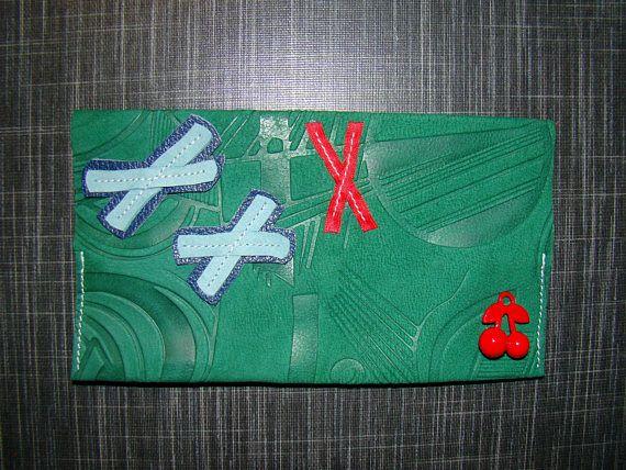 Porte chéquier fantaisie cuir imprimé vert