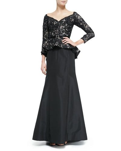 #weddings #mothers, Blacklace #dresses | Full Lace Bodice Peplum Gown | Mother of the Bride Dresses |  This Long Sleeve gown has a lace bodice with a fabric skirt.  You could wear this to a formal gala or as mother-of-the-bride. Its shows as $5440 but we can recreate this in any size for less than $1000. We are in the United States.  Please contact us for more details. www.dariuscordell.com