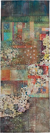 Tracings VII by Deidre Adams Richly layered and quilted hand painted cotton with collected papers.