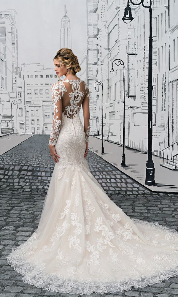 Illusion lace back detail wedding dress. Style 8905, Justin Alexander #weddingdress
