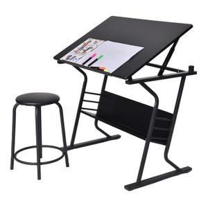 Table à dessin inclinable avec tabouret multifonctionnel table bureau réglable