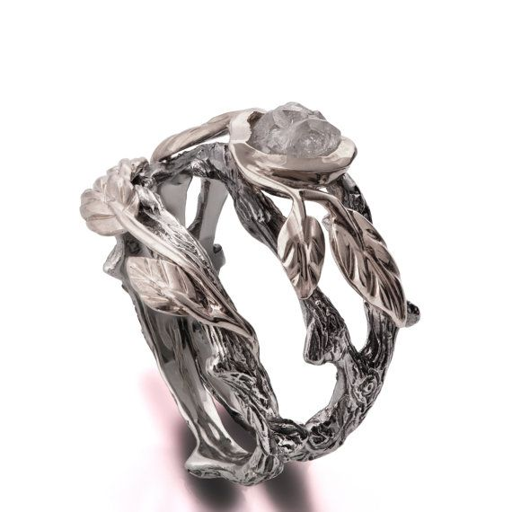 Twig and Leaf Engagement Ring, 18K White Gold Rough Diamond ring