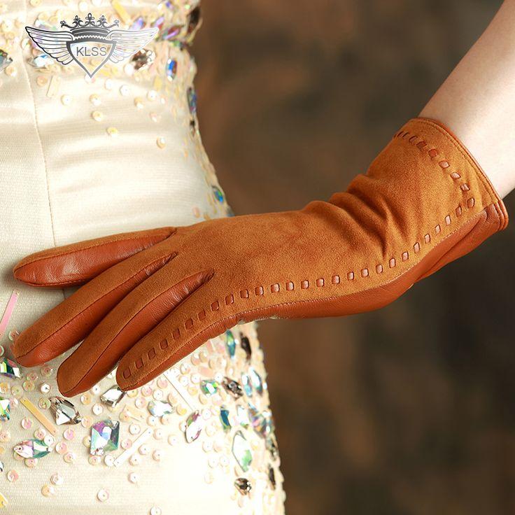 KLSS Brand Genuine Leather Women Gloves High Quality Goatskin Suede Gloves Winter Fashion Trend Lady Sheepskin Glove 2329