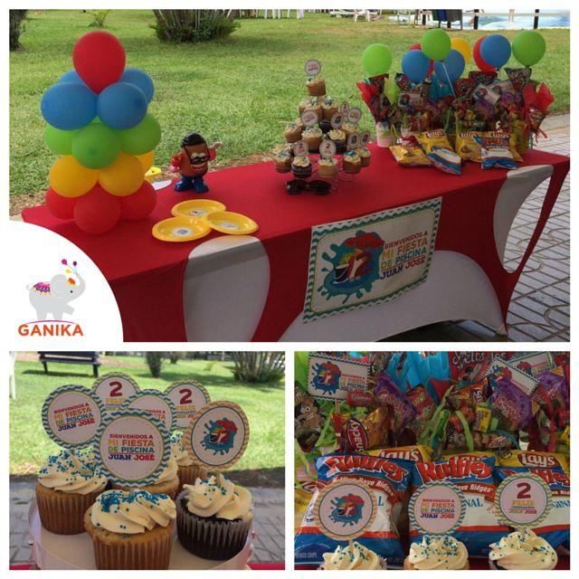 Diseño decoración para cumpleaños Fiesta de piscina para Juan José.