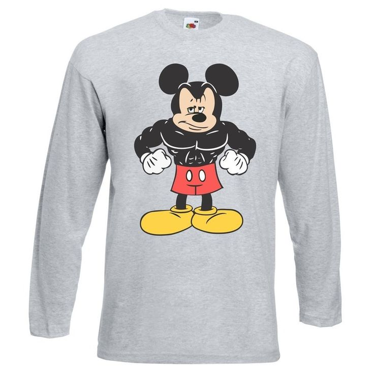 Camiseta Manga Longa Mickey Mouse cor Cinza - Marombada - Moda Fitness e Roupa de Academia, regata cavada masculina e feminina