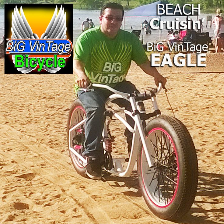 Big Vintage Bicycle makes These huge Fat tire beach cruiser bikes. Custom made to order to fit your body size. fat bike old school steampunk bicycle ratrod balloon tire, fat tire custom electric lowrider