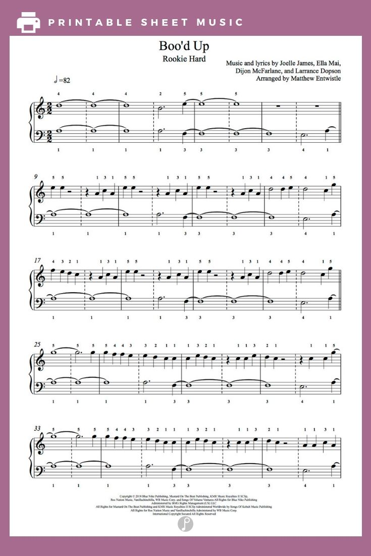 Boo D Up By Ella Mai Piano Sheet Music Rookie Level With Images