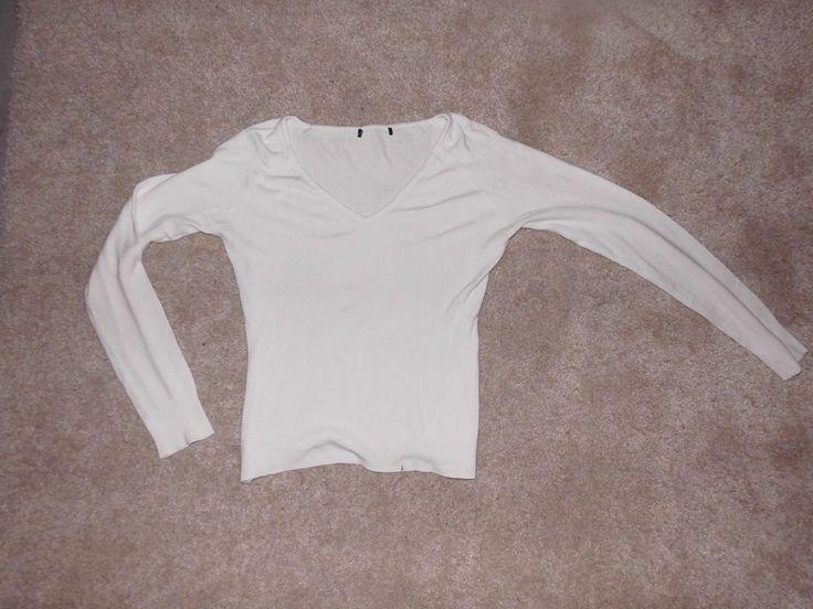 Bílý bavlněný svetřík na tělo s V výstřihem a žebrováním na rukávech a spodním lemu