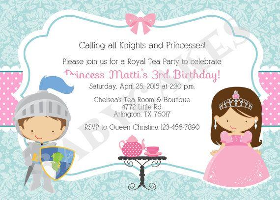 Royal/Tea Party Birthday/Invitation/knight and by jcbabycakes