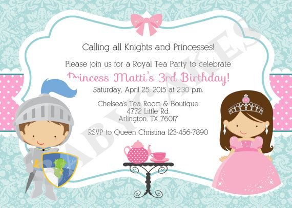 Royal/Tea Party Birthday/Invitation/knight and by jcbabycakes