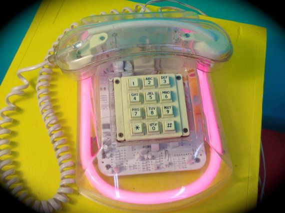 Vintage Neon & Clear Telephone, $90