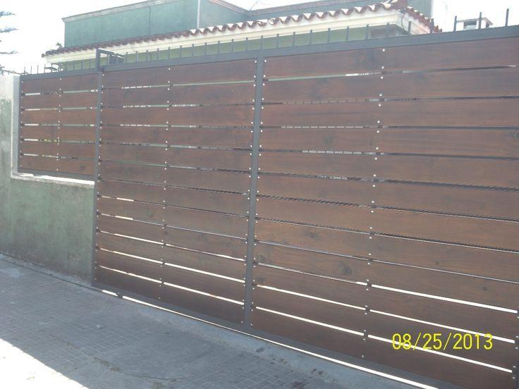 Portones hierro y madera en mercadolibre for Portones de madera exterior