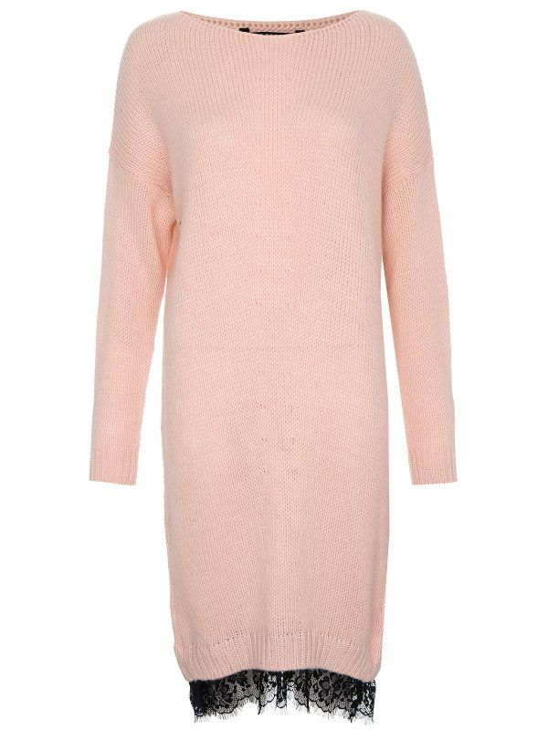 Knitted dress with lace detail at the bottom