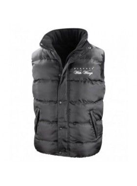 Elevate With Wings Black Hooded Body Warmer. Buy @ http://thehubmarketplace.com/grey-bodywarmer