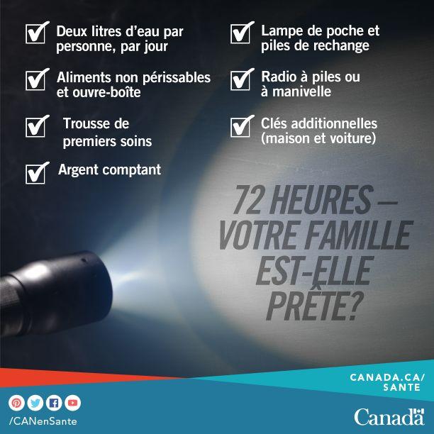 Soyez-prêt pour une urgence! Préparez une trousse d'urgence pour votre famille :  http://canadiensensante.gc.ca/security-securite/emergency-prepare-urgence/kit-trousse-fra.php?_ga=1.131875535.1126085306.1413906963&utm_source=pinterest_hcdns&utm_medium=social_fr&utm_content=jan7_emergency&utm_campaign=social_media_14