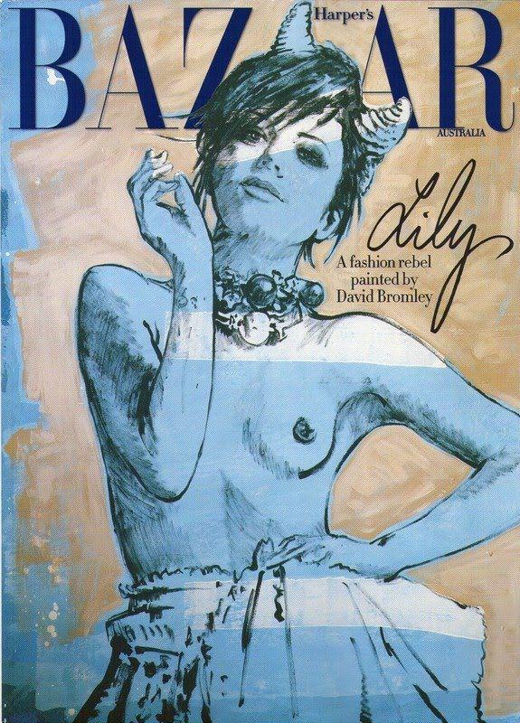 Lily Allen for Harper's Baazar Australia, painted by David Bromley,