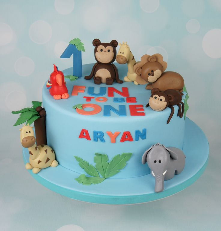 Jungle animals cake. Giraffes, Elephant, Monkeys, Lion, Parrot