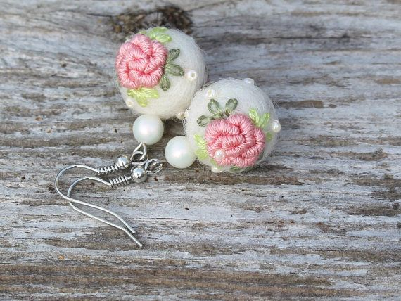 Small romantic rose earrings in pink and by NettesRoseGarden, $22.00